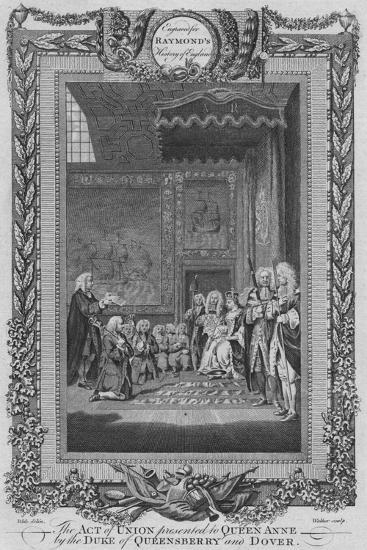 'The Act of Union presented to Queen Anne by the Duke of Queensberry and Dover', c1787-Unknown-Giclee Print