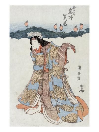 The Actor Iwai Shijaku in the Role of Kikunomae, Japanese Wood-Cut Print-Lantern Press-Art Print