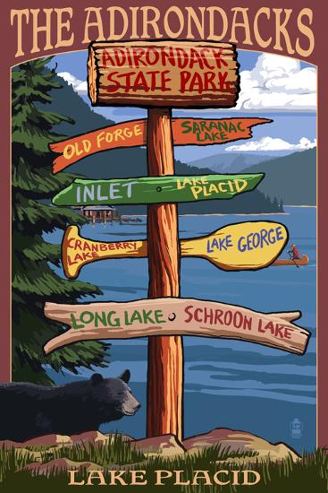 The Adirondacks - Adirondack State Park, New York - Destination Signpost-Lantern Press-Art Print