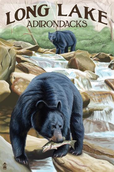 The Adirondacks - Long Lake, New York - Black Bears Fishing-Lantern Press-Wall Mural
