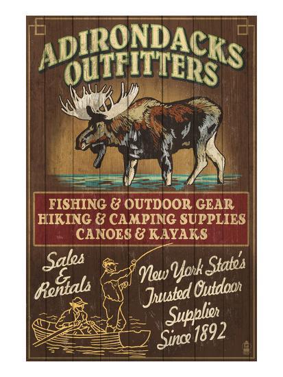 The Adirondacks - Long Lake, New York State - Moose Outfitters-Lantern Press-Art Print