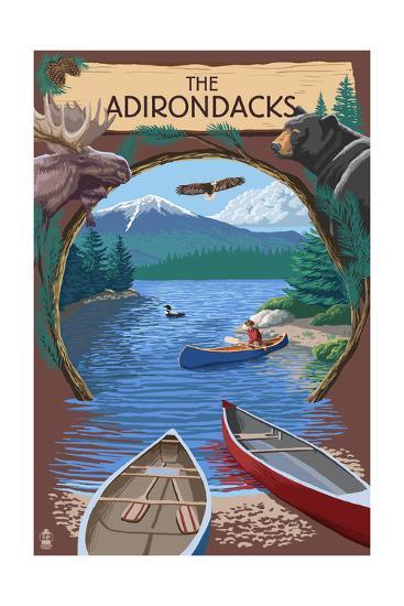 The Adirondacks, New York - Canoe Scene-Lantern Press-Art Print