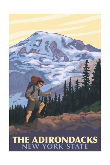 The Adirondacks, New York - Hikers and Mountain-Lantern Press-Art Print