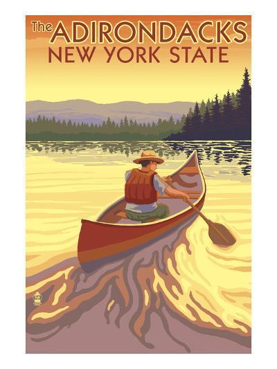 The Adirondacks, New York State - Canoe Scene-Lantern Press-Art Print