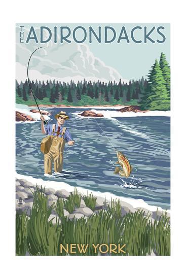 The Adirondacks, New York State - Fishing Scene-Lantern Press-Art Print
