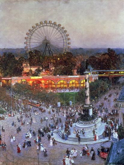 The Admiral Tegetthoff Monument at the Praterstern with the Ferris Wheel, Vienna-Heinrich Tomec-Giclee Print