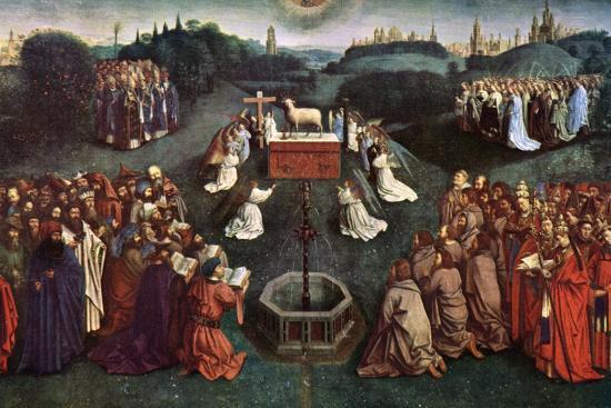 'The Adoration of the Mystic Lamb', The Ghent Altarpiece, 1432, (c1900-1920).Artist: Jan van Eyck-Jan van Eyck-Giclee Print