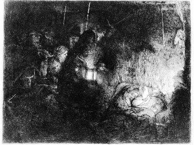 The Adoration of the Shepherds, C.1652 (Etching)-Rembrandt van Rijn-Giclee Print