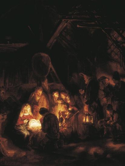 The Adoration of the Shepherds-Rembrandt van Rijn-Art Print
