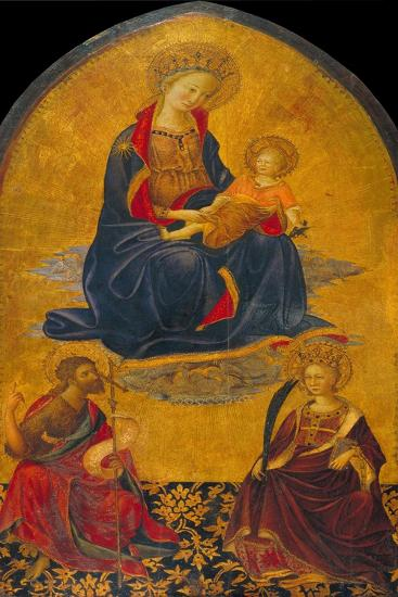 The Adoration of the Virgin and Child by Saint John the Baptist and Saint Catherine-Gherardo Starnina-Giclee Print