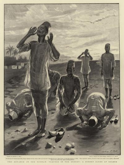 The Advance in the Soudan, Prayers in the Desert, a Sunset Scene at Berber-Sydney Prior Hall-Giclee Print
