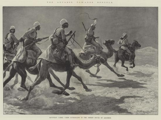 The Advance Towards Dongola, Egyptian Camel Corps Patrolling in the Desert South of Akasheh-Richard Caton Woodville II-Giclee Print