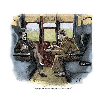 The Adventure of Silver Blaze, Holmes and Watson on Train-Sidney E Paget-Giclee Print
