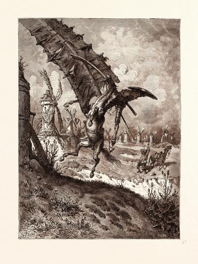 The Adventure with the Windmills-Gustave Dore-Giclee Print