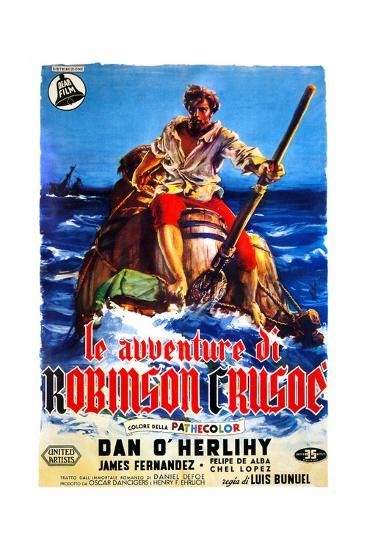The Adventures of Robinson Crusoe, (AKA Le Avventure Di Robinson Crusoe), Italian Poster Art, 1954--Giclee Print