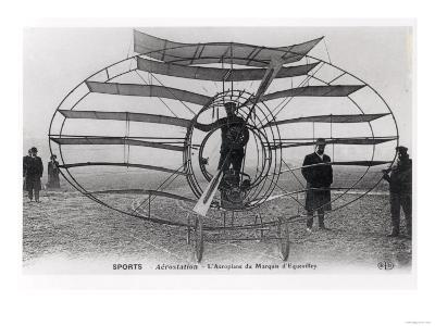 The Aeroplane of the Marquis D'Equevilley, 1908-10--Giclee Print