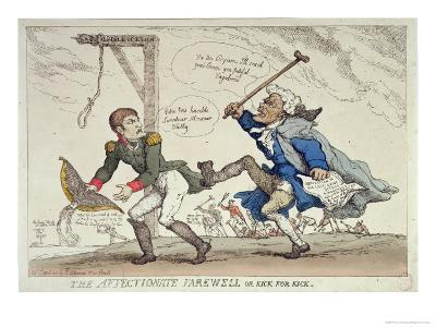 The Affectionate Farewell Or, Kick For Kick, Published by R. Ackermann, 17th April 1814-Thomas Rowlandson-Giclee Print