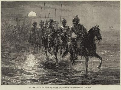 The Afghan War, a Raid Against the Momunds, the 11th Bengal Lancers Crossing the Kunar River--Giclee Print