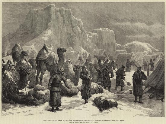 The Afghan War, Camp of the 3rd Goorkhas in the Snow at Sultan Mohammed--Giclee Print