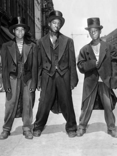 The African American Teenagers with Tuxedos and Top Hats During the August 1943 Riots in Harlem--Photo