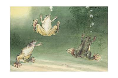 The Aglossa Frogs are Aquatic, Coming Up for Air Every Few Minutes-Hashime Murayama-Giclee Print