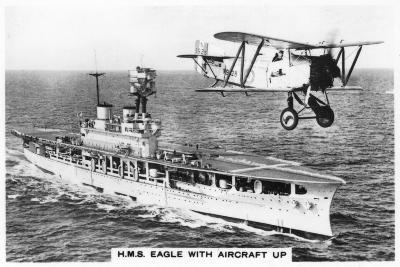 The Aircraft Carrier HMS 'Eagle' and a Fairey Flycatcher Aircraft--Giclee Print