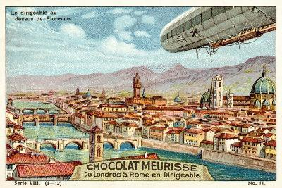 The Airship Above Florence--Giclee Print