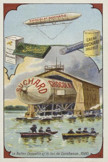 The Airship Zeppelin on Lake Constance, 1900 Giclee Print by | Art com