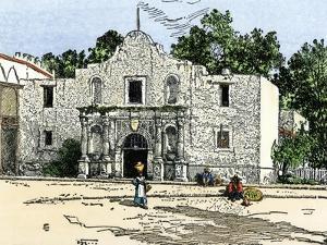 The Alamo in San Antonio, Texas, 1800s