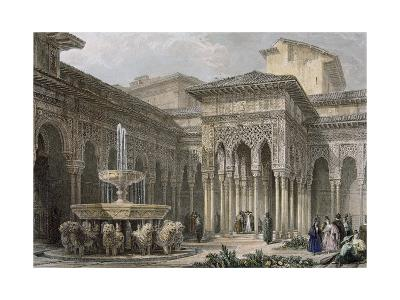 The Alhambra in Granada. Court of the Lions. Engraving--Giclee Print