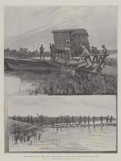 The Allied Forces in China, the Construction of a Bridge over a Creek Near the Pei-Ho River-Henry Charles Seppings Wright-Giclee Print