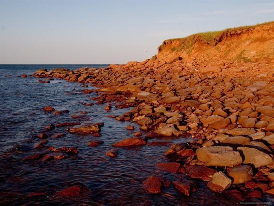 The Almost Unnatural Red of Rocks of Island Light up at Sunset, Prince Edward Island, Canada-Taylor S^ Kennedy-Photographic Print