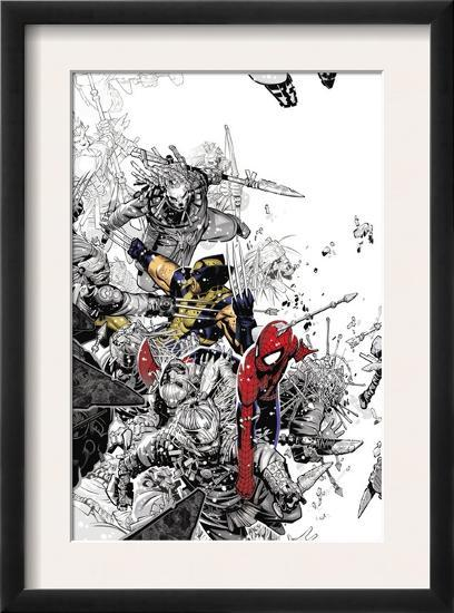 The Amazing Spider Man 555 Cover Spider Man And Wolverine Framed Art Print By Chris Bachalo Art Com