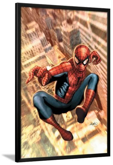 The Amazing Spider-Man No.549 Cover: Spider-Man-Salvador Larroca-Lamina Framed Poster