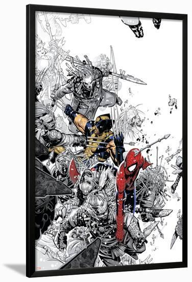 The Amazing Spider Man No 555 Cover Spider Man And Wolverine Lamina Framed Poster By Chris Bachalo Art Com