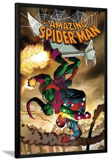 The Amazing Spider-Man No.571 Cover: Spider-Man and Green Goblin-John Romita Jr^-Lamina Framed Poster