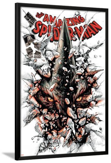 The Amazing Spider-Man No.617 Cover: Rhino-Paolo Rivera-Lamina Framed Poster