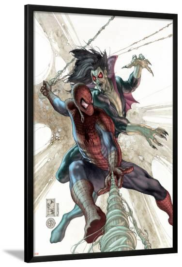 The Amazing Spider-Man No.622 Cover: Spider-Man and Morbius-Simone Bianchi-Lamina Framed Poster