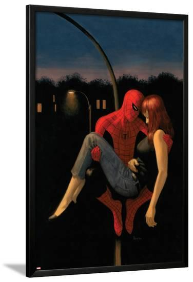 The Amazing Spider-Man No.640 Cover: Spider-Man Holding Mary Jane Watson-Paolo Rivera-Lamina Framed Poster