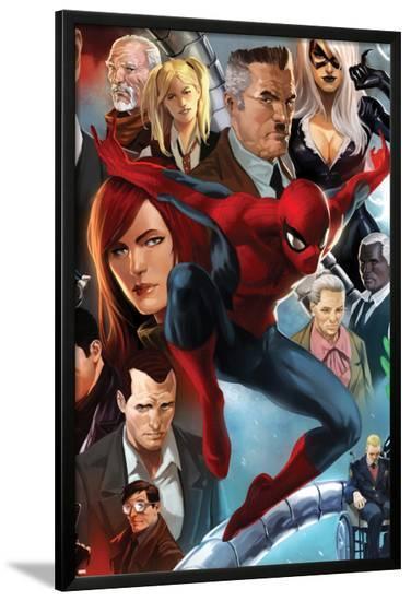 The Amazing Spider-Man No.645 Cover: Spider-Man, Black Cat, J. Jonah Jameson, and Mary Jane Watson-Marko Djurdjevic-Lamina Framed Poster