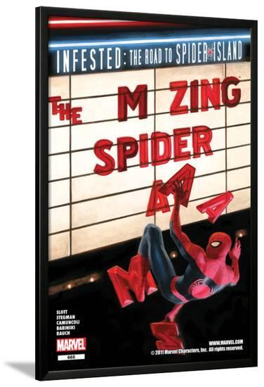 The Amazing Spider-Man No.665 Cover: Spider-Man Falling from the Marquee-Paolo Rivera-Lamina Framed Poster