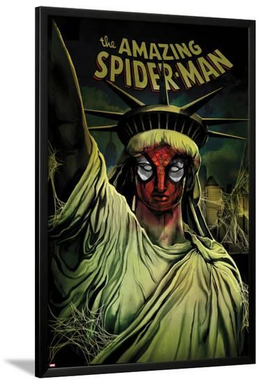 The Amazing Spider-Man No.666 Cover: Spider-Man Painted on the Statue of Liberty-Mike Del Mundo-Lamina Framed Poster