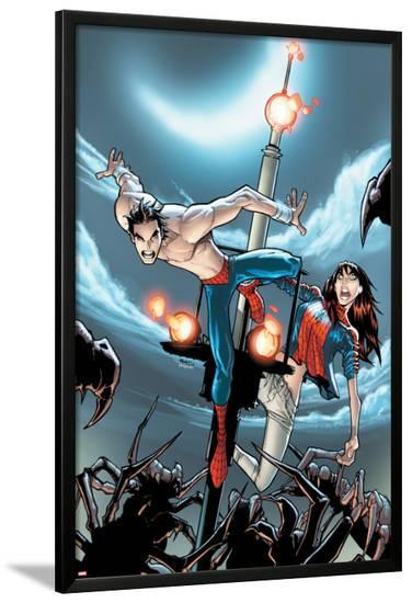 The Amazing Spider-Man No.672 Cover: Peter Parker Jumping-Humberto Ramos-Lamina Framed Poster