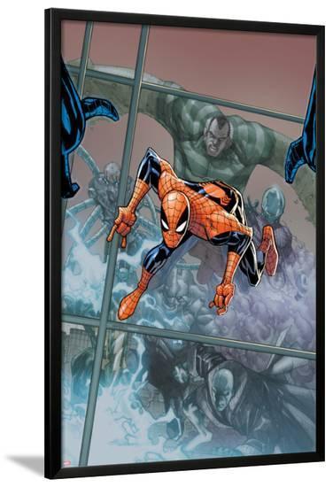 The Amazing Spider-Man No.676 Cover: Spider-Man Jumping-Humberto Ramos-Lamina Framed Poster