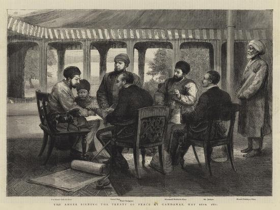 The Ameer Signing the Treaty of Peace at Gandamak, 26 May 1879--Giclee Print