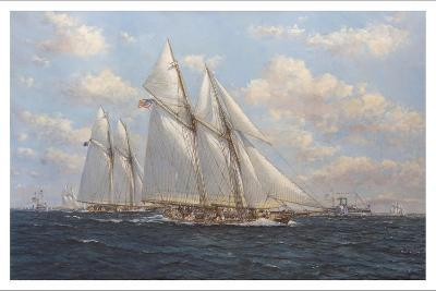 The America's Cup 1871 'Columbia Leading Livonia'-John Sutton-Giclee Print
