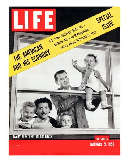 The American and his Economy, Family with Three Kids Taken, January 5, 1953-Nina Leen-Photographic Print