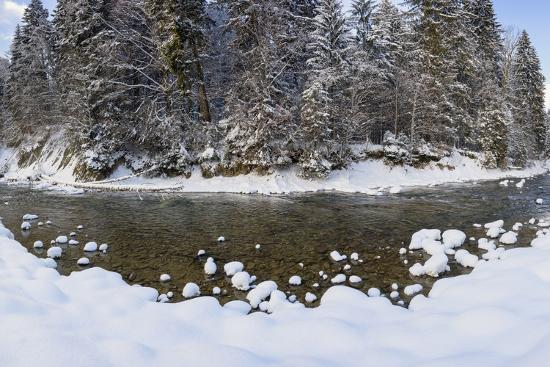 The Ammer in Winter with Ice and Snow-Wolfgang Filser-Photographic Print