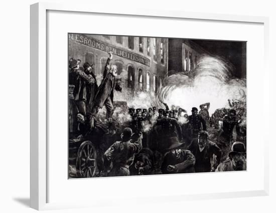 "The Anarchist Riot in Chicago: a Dynamite Bomb Exploding Among the Police, from ""Harper's Weekly""-Thure De Thulstrup-Framed Giclee Print"
