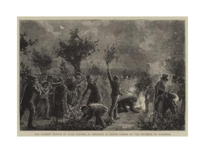 The Ancient Custom of Wood Lopping at Midnight in Epping Forest on the Eleventh of November--Giclee Print